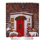 Christmas Decorations Around A Front Shower Curtain