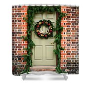 Christmas Door Shower Curtain