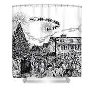Christmas In Dock Square Rockport Shower Curtain