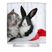 Christmas Kitten And Rabbit Shower Curtain