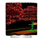 Christmas Lights Red And Green Shower Curtain
