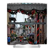 Christmas On Aviles Street Shower Curtain by DigiArt Diaries by Vicky B Fuller