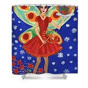 Christmas Pudding Fairy Shower Curtain