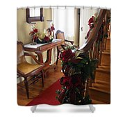 Christmas Rose And Stairs  Shower Curtain
