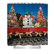 Christmas Snowman On Rails Shower Curtain