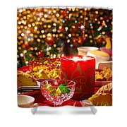 Christmas Table Set Shower Curtain by Carlos Caetano