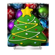 Christmas Tree Cookie With Ornaments Shower Curtain