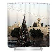 Christmas Tree In Manger Square Bethlehem Shower Curtain