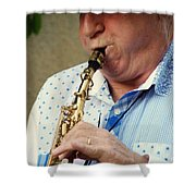 Christopher Mason Alto Sax Player Shower Curtain