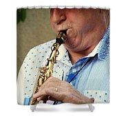 Christopher Mason Alto Sax Player Shower Curtain