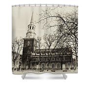 Christs Church Philadelphia In Sepia Shower Curtain