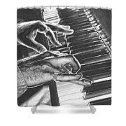 Chrome Piano Man Shower Curtain