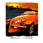 Chrysler Plymouth Prowler Rocky Sunset Shower Curtain