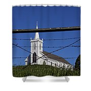 Church And Barbed Wire Shower Curtain