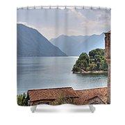 church at the Lake Como Shower Curtain