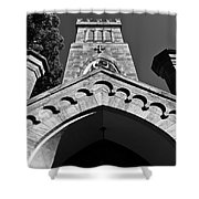 Church Facade In Black And White Shower Curtain