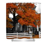 Church In Autumn Shower Curtain