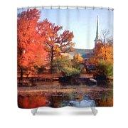 Church In Autumn Shower Curtain
