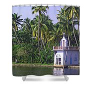 Church Located On A Coastal Lagoon In Kerala In India Shower Curtain