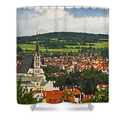 Church Spire In The Old Town Cesky Shower Curtain