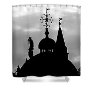 Church Spires Silhouetted Bw Shower Curtain