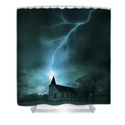 Church Struck By Lightning Shower Curtain