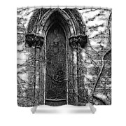Church Window And Vines Bw Shower Curtain