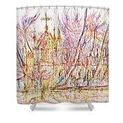 Church With Palm Trees Shower Curtain