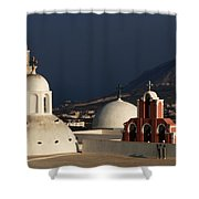 Churches In Fira Greece Shower Curtain