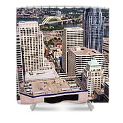 Cincinnati Aerial Skyline Downtown City Buildings Shower Curtain