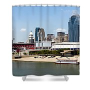 Cincinnati Ohio Skyline And Riverfront Shower Curtain