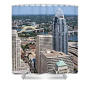 Cincinnati Panorama Aerial Skyline Downtown City Buildings Shower Curtain by Paul Velgos