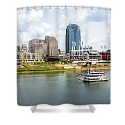 Cincinnati Skyline With Riverboat Photo Shower Curtain