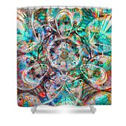 Circles Of Life Shower Curtain by Mo T