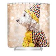 Circus Clown Dog Shower Curtain
