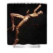 Citius Altius Fortius Olympic Art High Jumper On Black Shower Curtain