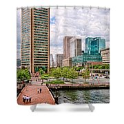 City - Baltimore Md - Harbor Place - Baltimore World Trade Center  Shower Curtain