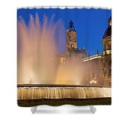 City Hall And Fountain At Dusk Shower Curtain