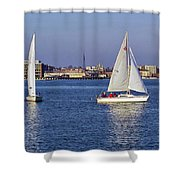 City Harbor Sailing Shower Curtain