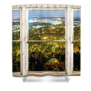 City Lights White Rustic Picture Window Frame Photo Art View Shower Curtain