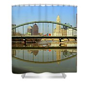 City Reflections Through A Bridge Shower Curtain