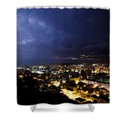 Cityscape At Night Shower Curtain