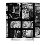 Classic Car Collage In Black And White Shower Curtain