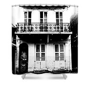 Classic French Quarter Residence New Orleans Black And White Conte Crayon Digital Art Shower Curtain