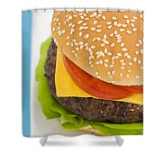 Classic Hamburger With Cheese Tomato And Salad Shower Curtain