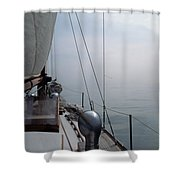 Classic Wooden Sailboat With No Horizon Off The Bow Shower Curtain