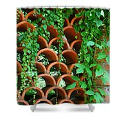 Clay Pattern Wall With Vines Shower Curtain