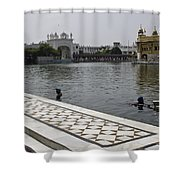 Clearing The Sarovar Inside The Golden Temple Resorvoir Shower Curtain