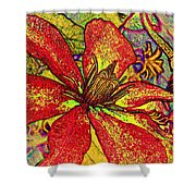 Clematis In Colored Pencil  Shower Curtain