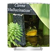 Clever Froggy's Hideout Shower Curtain
